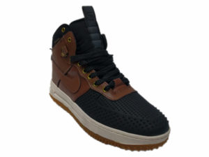 Зимние Nike Lunar Force 1 Leather шоколадные с черным - фото спереди