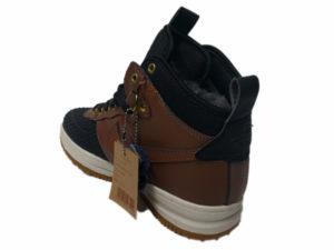 Зимние Nike Lunar Force 1 Leather шоколадные с черным - фото сзади