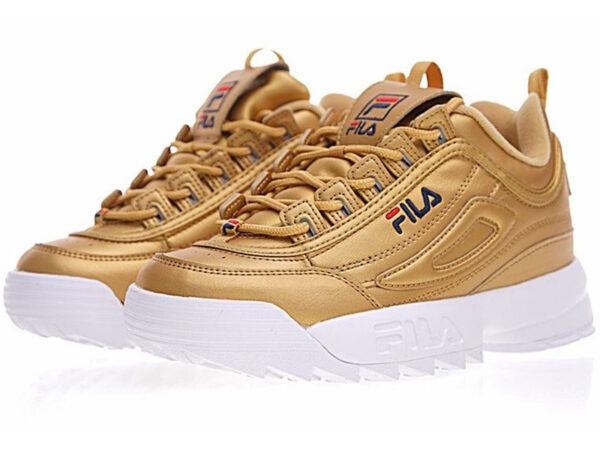 Золотые кроссовки Fila