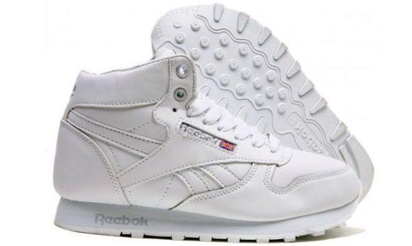 Зимние мужские белые кроссовки с мехом