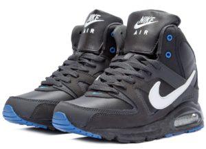 Зимние Nike Air Max Skyline High с мехом черные с синим 40-44