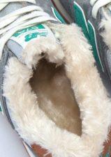 Зимние NEW BALANCE 574 с мехом замша серые с зеленым (35-39)