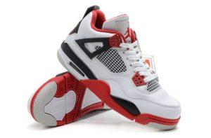 Nike Air Jordan 4 белые с красным (40-45)