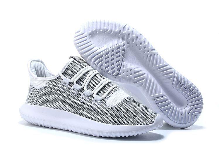 Adidas Tubular Shadow Knit серебристые с белым (35-44)