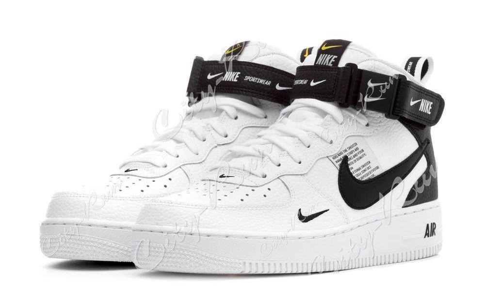 334f21dc Nike Air Force 1 Mid 07 LV8 Utility белые с черным (35-44) — купить ...