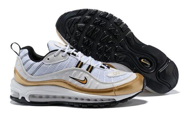 Nike Air Max 98 белые с золотым (40-44)