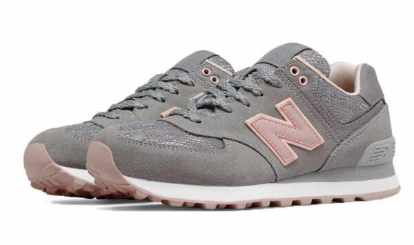 New Balance 574 серые с розовым 36-40