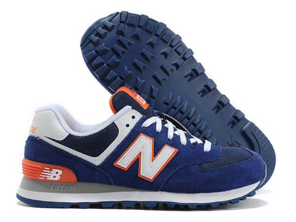 Кроссовки New Balance 574 синие с оранжевым (35-40)