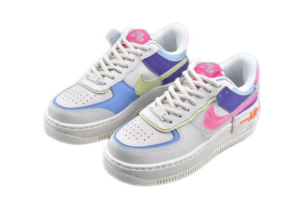 Nike Air Force 1 Shadow белые-фиолетовые-зеленые-розовые (35-39)