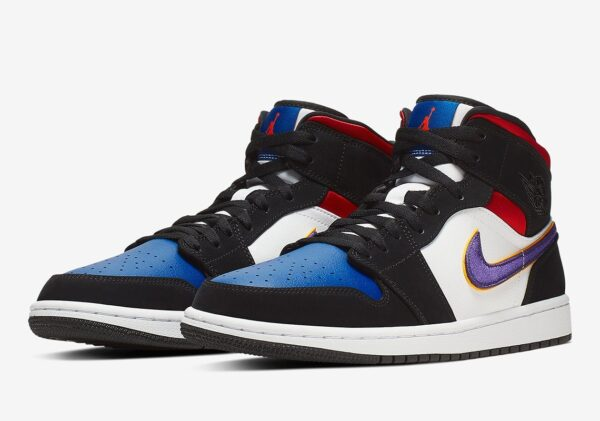 Nike Air Jordan 1 Mid se Lakers Top 3 черно-бело-синие с красным (40-45)