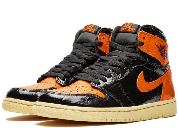 Nike Air Jordan 1 Shattered Backboard 1.0 черно-оранжевые кожаные мужские-женские (35-45)