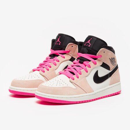 Nike Air Jordan 1 Retro бело-розовые кожа-нубук женские (35-39)