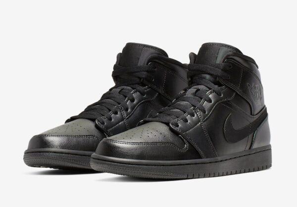 Nike Air Jordan 1 Retro черные кожаные мужские (40-45)