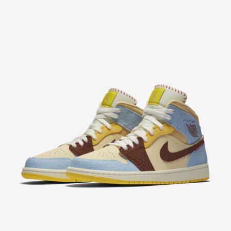 Nike Air Jordan 1 Mid SE Fearless x Maison Chateau Rouge бежево-голубые с коричневым кожаные женские (35-39)