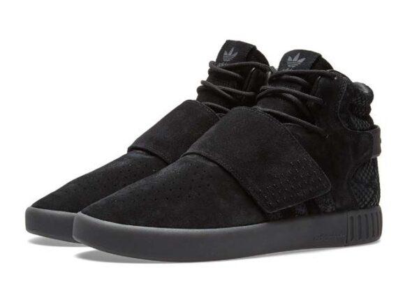 Зимние Adidas Tubular Invader Strap с мехом черные (40-44)