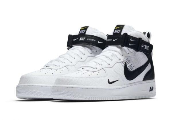 Зимние Nike Air Force 1 Mid 07 LV8 Utility с мехом белые с черным (35-44)