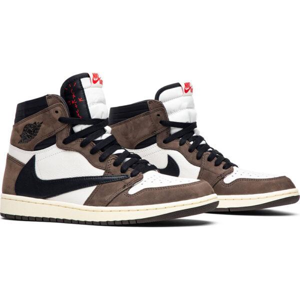 Nike Air Jordan 1 Travis Scott коричнево-белый камуфляж с черным (35-44)