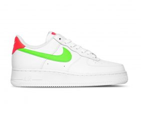 Nike Air Force 1 '07 Laser Crimson Green Strike белые с зеленым кожаные женские (35-39)